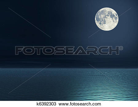 Drawing of Moon over the sea k6392303.