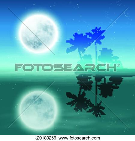 Clip Art of Sea with island with palm trees and full moon at night.