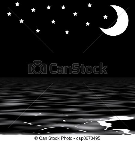 Stock Illustrations of Stars and moon above sea csp0670495.