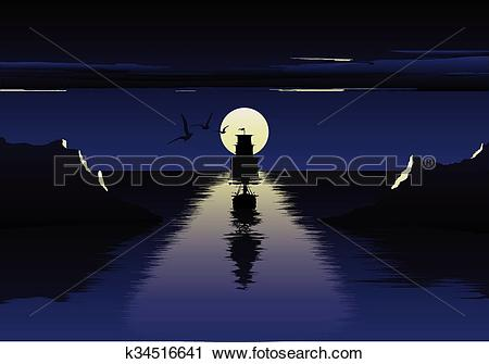 Clipart of Vector illustration of moon over the sea and ship.