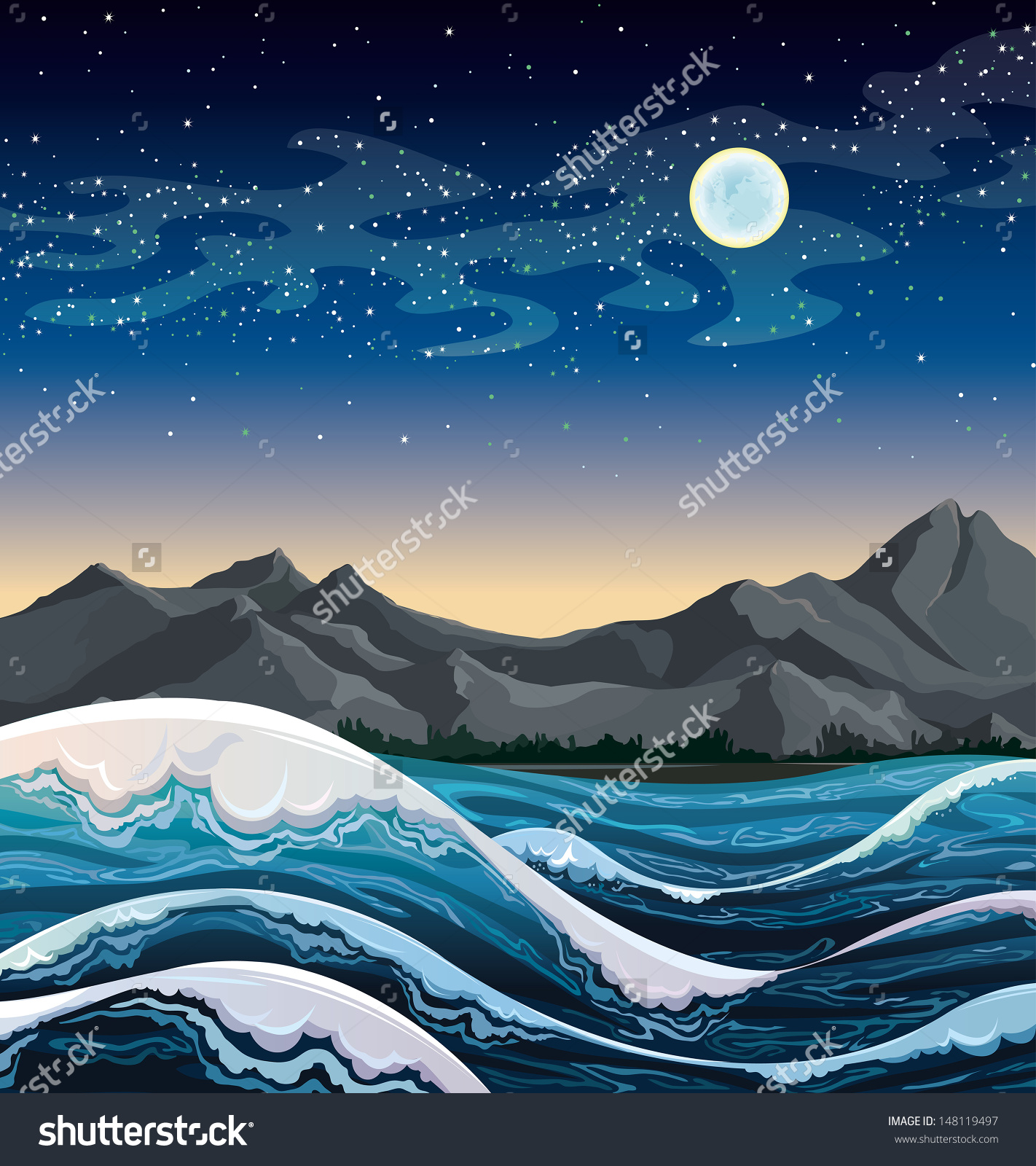 Night Sea Waves Mountains On Starry Stock Vector 148119497.