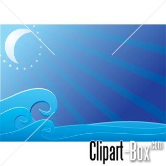 CLIPART MOON ON THE SEA BACKGROUND.