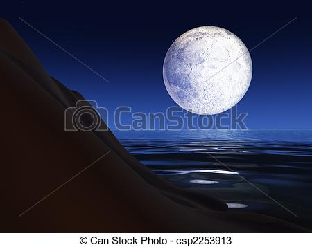 Drawings of Full Moon over a Sea Cliff.