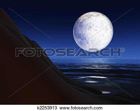 Drawing of Full Moon over a Sea Cliff k2253913.