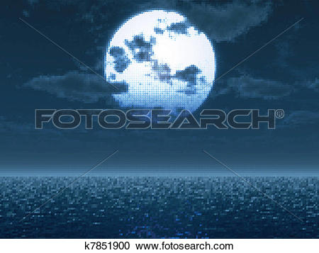 Clipart of Ful moon over the sea. Vector illustration k7851900.