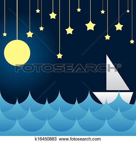Clipart of boat at sea waves, moon and star k16450883.