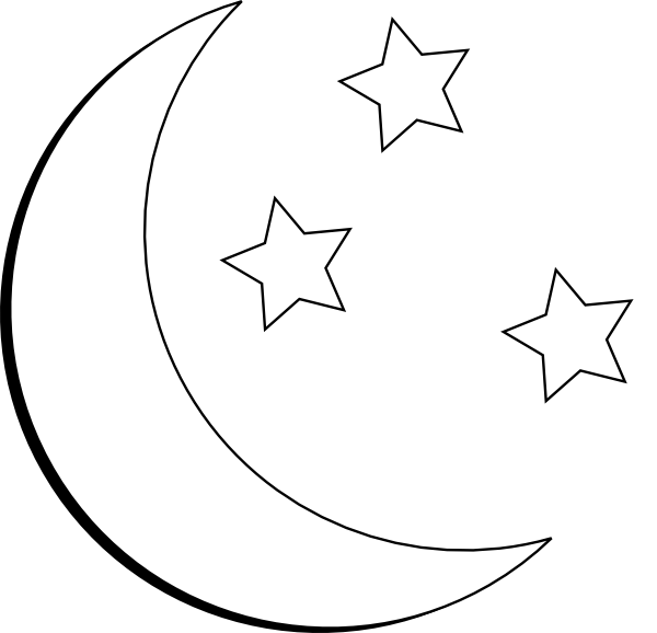 Moon and star outline clipart.