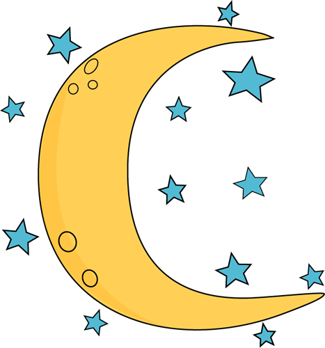 Crescent Moon and Stars Clip Art.