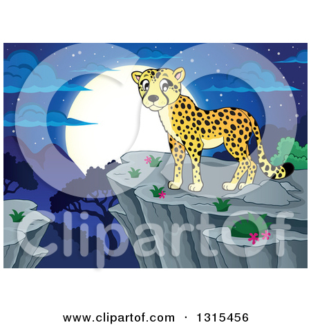 Clipart of a Cartoon Cheetah on a Cliff over a Valley and a Full.