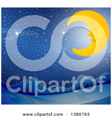 Clipart of a Sleeping Crescent Moon over a Winter Valley.