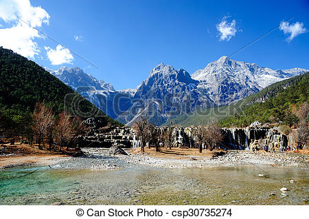 Picture of Blue Moon Valley in Yulong Snow Mountain csp30735274.
