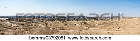 """Stock Photography of """"Rocky landscape furrowed by erosion, dry."""