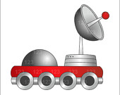 Items similar to Red Moon Car Single Digital Clip Art, Moon Rover.