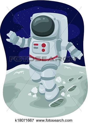 Clip Art of Astronaut Moonwalk k18071667.
