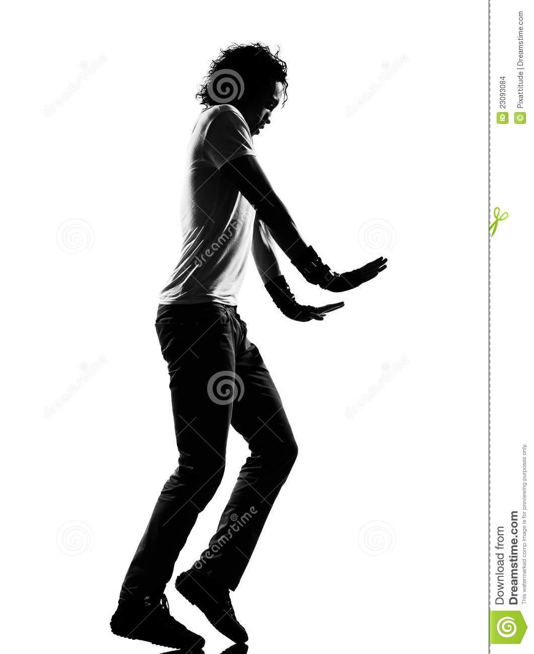 Hip Hop Funk Dancer Dancing Moonwalk Man Stock Images.