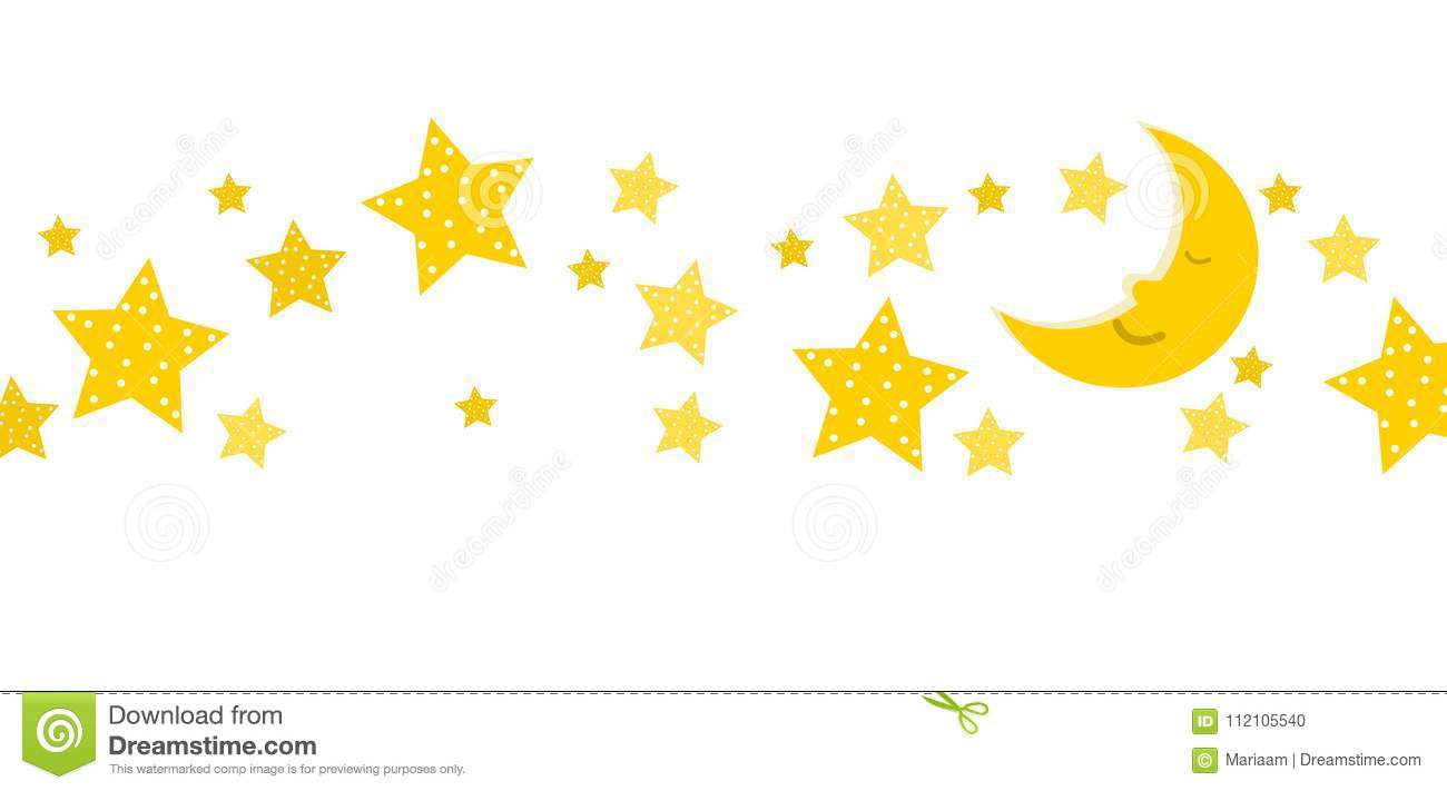 Sleeping Moon And Stars Banner Stock Vector.