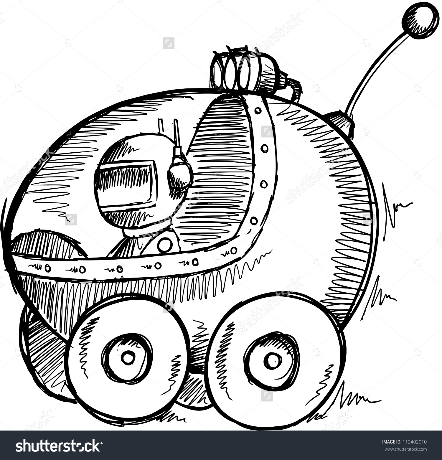 Sketch Doodle Outer Space Moon Buggy Stock Vector 112402010.