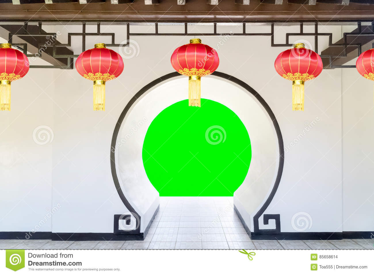 Moon Gate In Chinese Garden Stock Photo.