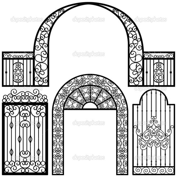 wrought iron moon gate.