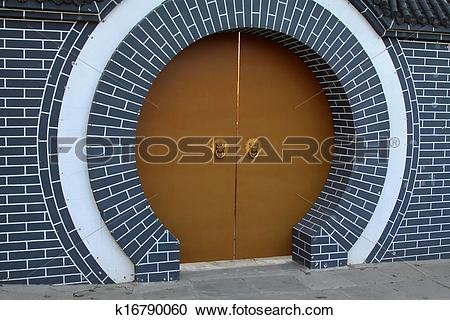 Stock Photography of moon gate, Chinese traditional architectural.