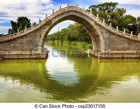 Stock Images of Moon Gate Bridge Reflection Summer Palace Beijing.
