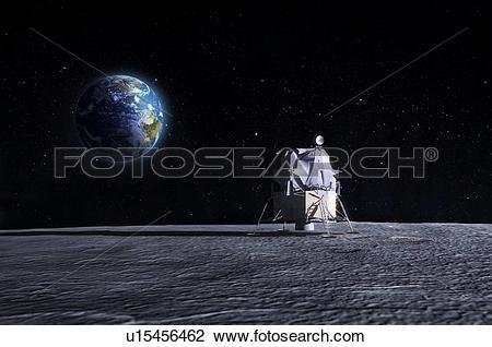 Clip Art of Apollo Moon landing, artwork u15456462.
