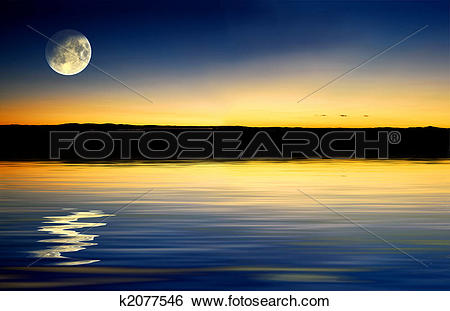Stock Illustration of Sunset with moonrise k2077546.