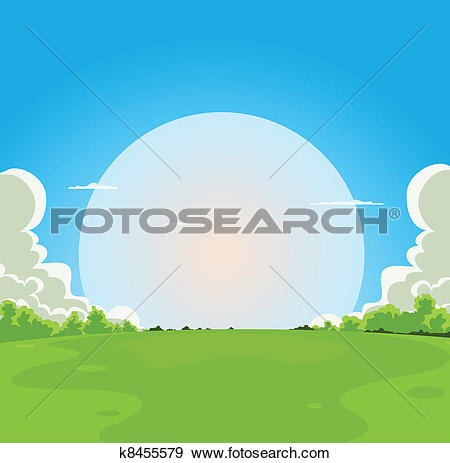 Clip Art of Cartoon Moonrise Background k8455579.