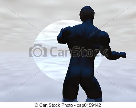 Clip Art of Moonrise Male.