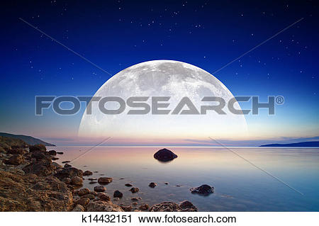Clipart of Full moon rise k14432151.