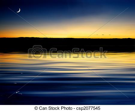 Stock Illustrations of Sunset with moonrise.