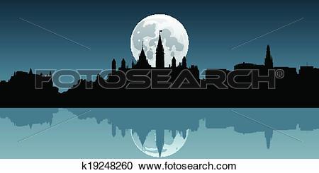 Clipart of Ottawa Moonrise k19248260.