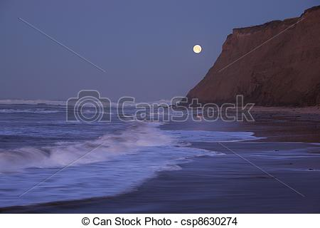Stock Photo of Moonset at Half Moon Bay.