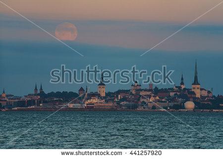 Moon Sunrise Over Stock Photos, Royalty.