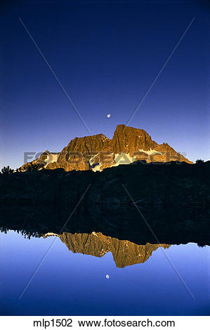 Stock Photo of Moonset over Mount Ritter and Banner Peak, Ansel.