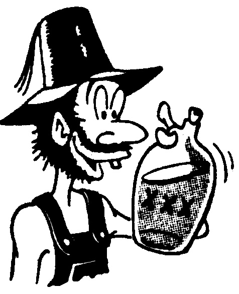 hillbilly with moonshine.
