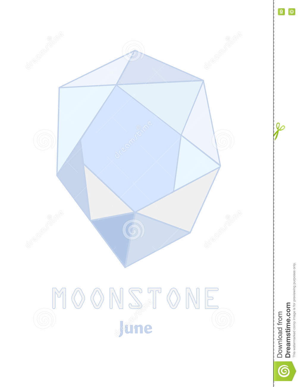 Moonstone Gem Stone, Pale Blue Crystal, Gems And Mineral Crystal.