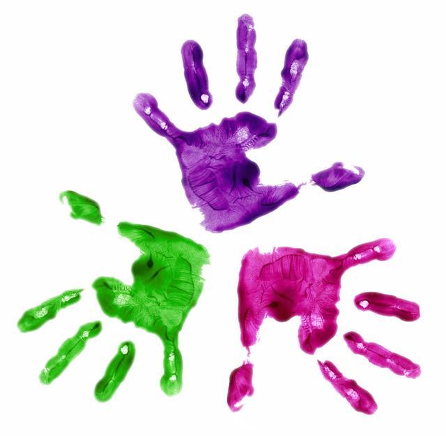 Childrens handprint clipart.
