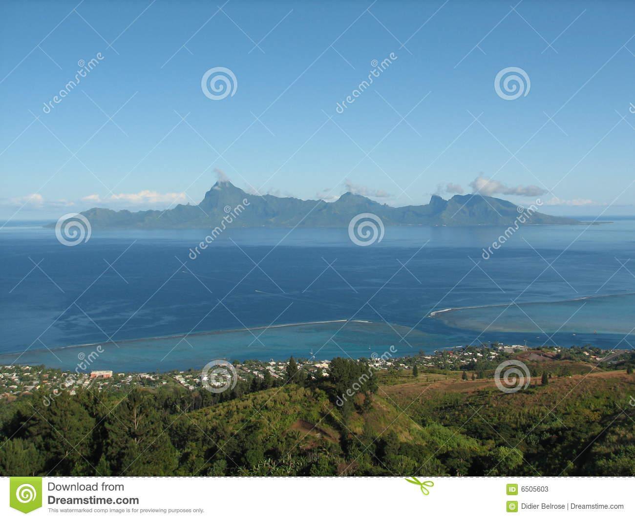 Moorea Island From Tahiti Stock Photos.