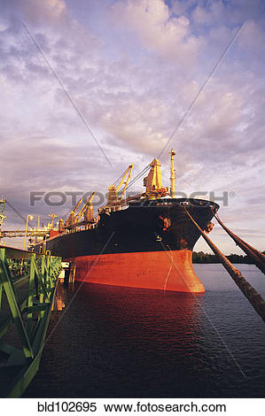 Stock Image of Large ship moored in port bld102695.
