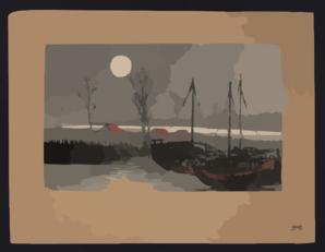 Sailboats Moored Under The Moon. Clip Art at Clker.com.