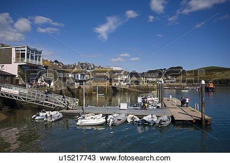 Stock Photo of England, Devon, Salcombe, Small boats moored to.