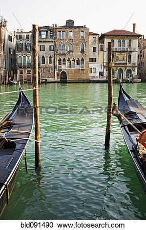 Stock Photography of Gondolas moored in canal on wooden posts.