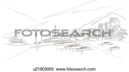 Stock Illustration of Boats moored at a harbor u21903005.
