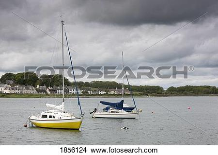 Stock Photo of Sailboats moored; Garleston, Dumfries and Galloway.