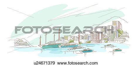 Stock Illustration of Boats moored at a harbor u24671379.