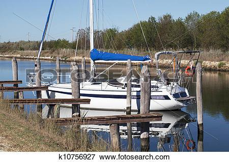 Stock Illustration of Moored boat k10756927.