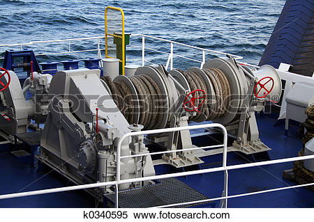 Stock Image of Ferry mooring lines k0340595.