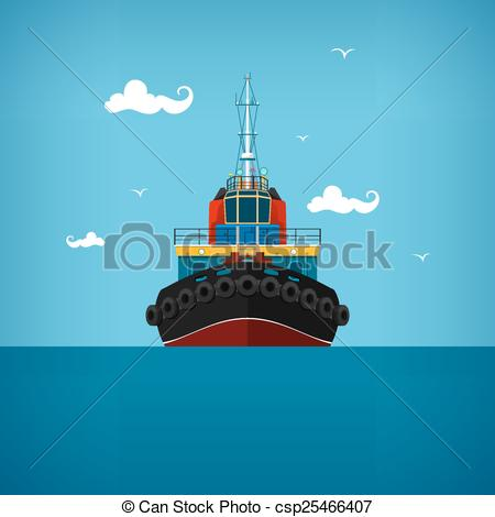 Vector Clipart of Tugboat for towage and mooring of other courts.