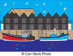 Harbour scene boats fishing huts fish water trawlers mooring.